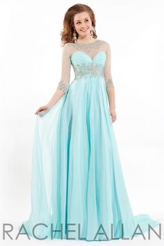 Chiffon gown with sheer sleeves. Beaded neckline and zipper.