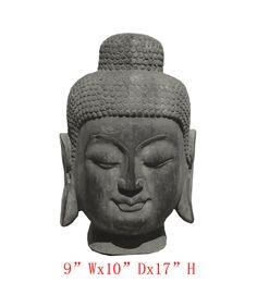 Big Chinese Hand Made Solid Stone Buddha Head Statue - Golden Lotus Antiques  650-522-9888 goldenlotusinc@yahoo.com #Buddha