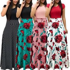 New Europe And America Style Women Floral Print Maxi Dress Fashionable Hot Sale Summer Evening Party Elegant Long Dress Formal Dresses With Sleeves, Simple Dresses, Cute Dresses, Casual Dresses, Formal Outfits, Ladies Dresses, Elegant Dresses, Maxi Outfits, Maxi Dresses