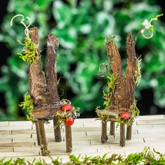Whimsical Fairy King and Queen Chairs Wood