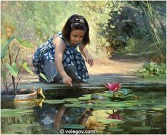 """#Painting named """"Little Pond of Marimurtra"""" by Vladimir Volegov. #Oil on #canvas"""