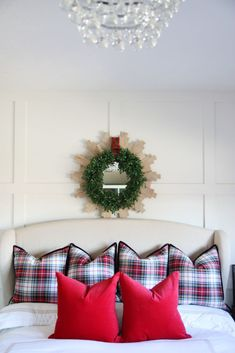 Plaid and Red Christmas Guest Room - Life On Virginia Street