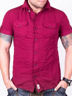 Camasa barbati Collar cu maneca scurta rosie What To Wear, Men Casual, Red, Mens Tops, Sleeve, Design, Shirts, Inspiration, Fashion