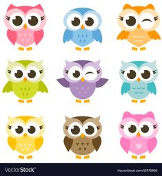 Set of cute colorful owls isolated on white vector image on VectorStock Basic Painting, Stencil Painting, Owl Patterns, Textures Patterns, Colorful Drawings, Easy Drawings, Classroom Family Tree, Owl Party Decorations, Owl Artwork