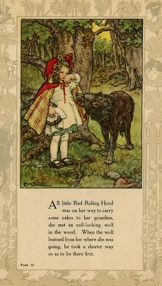 """As little Red Riding Hood was on her way..."" illustration by Clara M. Burd for her book 'Mother Goose and Her Goslings', c. 1912-18. Courtesy The Texas Collection, Baylor University."
