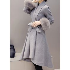 Faux Fur Cuffs Belted Asymmetric Hem Grey Coat (12.175 HUF) ❤ liked on Polyvore featuring outerwear, coats, grey, grey coats, long belted coat, gray faux fur coat, belted coat and fake fur coats