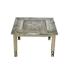 Embossed White Metal Coffee Table   A Beautiful Example Of Indian  Metalwork, This Embossed White