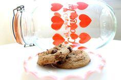 Vintage Red Heart Glass Cookie Jar. via Etsy.