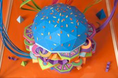 """The Future of Food"" by Zim and Zou -- awesome neon burger made out of paper"