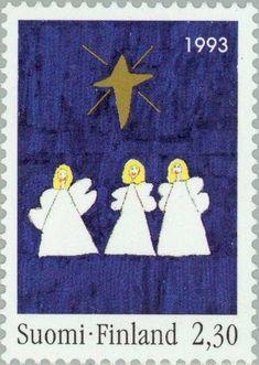 Stamp: Children drawings: Three angels (Finland) (Christmas) Mi:FI 1234,Sn:FI 929,Yt:FI 1199,Sg:FI 1341,AFA:FI 1223