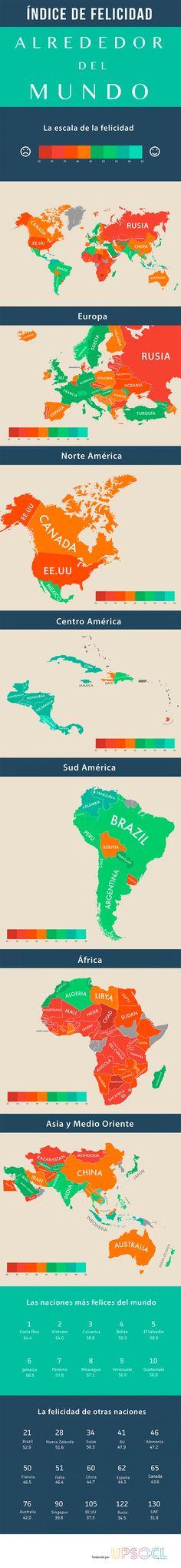 ¿Vives en un país feliz? Este mapa muestra la felicidad de las personas de países de todo el mundo. En otras palabras, se muestra el grado en que los países ofrecen una vida larga, feliz y ambientalmente sostenible para sus ciudadanos.