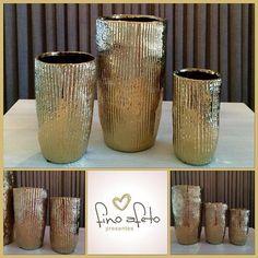 ⚜Lindo e elegante trio de vasos decorativos dourados⚜#finoafetopresentes #primaveradoleste #paranatinga