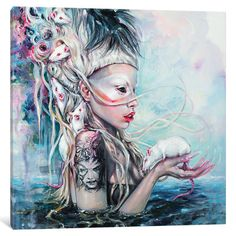 """East Urban Home Yolandi the Rat Mistress Painting Print on Wrapped Canvas Size: 18"""" H x 18"""" W x 1.5"""" D"""