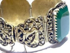 BIG Chinese Antique Vintage Bracelet with green by TheNecklaces