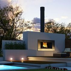 Outdoor Wood Burning Fireplace.