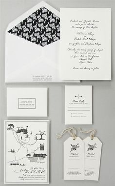 Black & White Invitations for a Wales Wedding
