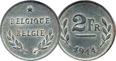 Belgium 2 Two Franc / Frank Coins Belgique Belgian