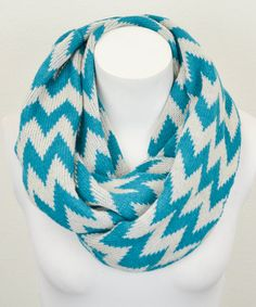 Another great find on #zulily! Leto Collection Teal & White Two-Tone Zigzag Infinity Scarf by Leto Collection #zulilyfinds