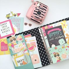Inside of my with the new Sunshine & Happiness collection from by hautepinkfluff Free Planner, Planner Pages, Planner Stickers, Project Life Planner, Project Life Freebies, Trombone, Filofax, Carpe Diem Planner, Planner Layout