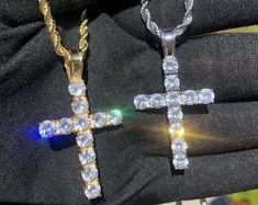 Hand Crafted Iced Out Cross Pendant Necklace in Gold or Silver   Etsy Fendi Purses, Tennis Necklace, Denim And Lace, Chains For Men, Cross Pendant, Cz Stones, Gold Plating, White Gold, Pendant Necklace