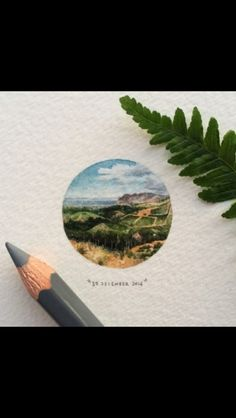 Day 364 : Constantia Nek is a low pass over the Table Mountain range in Cape Town, South Africa, and is home to the oldest restaurant in Cape Town. 🌲🌳 28 x 28 mm. (at Constantia Nek) Circle Drawing, Circle Art, Watercolor Landscape, Watercolor Paintings, Watercolours, Africa Painting, Mini Paintings, Miniature Paintings, Circle Tattoos