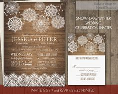 Rustic Winter Wedding Invitations Set Lace Snowflakes Barn Wood Country Lace Snowflake Invite DIY Digital printable File for Winter Weddings by NotedOccasions