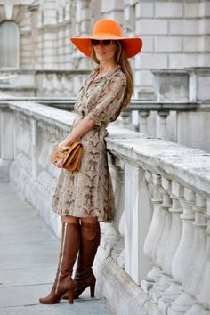 Claire Wilkinson, Fashion Blogger  This sidewalk style star selects the print of the season: python.