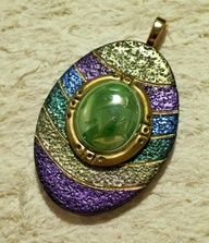 Art Nouveau pendant with green glass gem by Sweet2Spicy, via Flickr