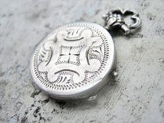 Antique locket, Antique French locket, Antique French fob watch locket, Victorian photo locket, Antique mourning locket, Silver locket