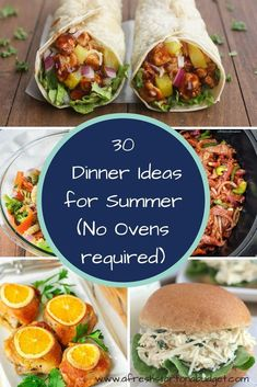 30 Dinner Ideas for Summer (No Ovens required) Looking for some dinner ideas for summer? Here are 30 ideas that sound good for dinner and you wont have to use the oven in the heat. meals no oven Easy Dinner ideas for summer - A Fresh Start on a Budget Easy Summer Dinners, Easy Meals, Summer Meal Ideas, Light Summer Meals, Hot Day Dinners, Summer Food, Summer Fresh, Summer Dishes, Crockpot Summer Meals
