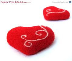 Christmas in July SALE 10 Set of 2 heart magnets. by VladaHom, $22.41