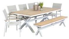 Segals  $1199  Granada 5 Seater with Bench, outdoor dining furniture, outdoor dining settings, outdoor dining table and chairs