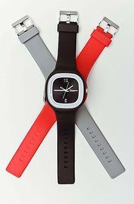 The Steez Watches The Steez Watch with Red and Gray Bands in Black