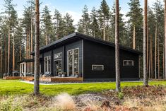 Black log home into a rural setting - Honka Small Modern Cabin, Modern Cottage, Modern Farmhouse, Plan Chalet, Best Tiny House, Cottage Plan, River House, Small House Plans, Types Of Houses