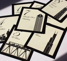 Chicago Table Number Wedding Decor Custom Icons Landmarks Silhouette City Illinois by ShannaMicheleDesigns Best Wedding Favors, Wedding Signs, Our Wedding, Dream Wedding, Wedding Ideas, Wedding Invitations, Wedding Venue Decorations, Wedding Table Numbers, Wedding Centerpieces