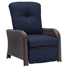 Hanover Outdoor Strathmere Luxury Recliner - Navy Blue
