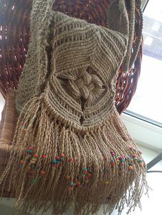 Ручная одежда Сумочка плетеная из льняного шпагата .