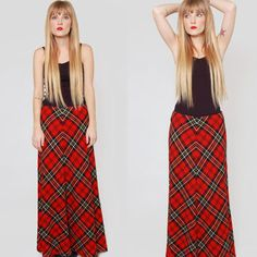 Vintage 70s Tartan PLAID Maxi Skirt Red and Black Grunge Indi.