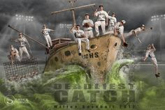 Baseball Team Composite Poster Deadliest Catch Boat Sea of Grass. A unique poster for many sports team by Shirk Photography. Includes layers of waves, cages, mist, and much more to insert your subjects into! The template is available at - http://shirkphotography.com/for-photographers/products/sports-templates/?product_page=1 not available to photographers within 200 miles of our studio