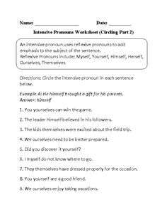 Printables Pronoun Worksheets High School intensive pronouns worksheet circling part 1 intermediate finding worksheet