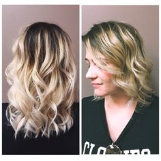 Ombre hair, blonde hair, rooted hair, beige blonde , mid length hair