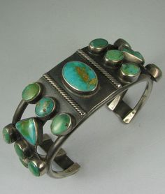 Vntg Hvy Navajo Blue Gem Turquoise Tri-Cluster Bracelet in Collectibles, Cultures & Ethnicities, Native American: US | eBay