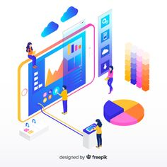 Isometric infographic with charts and people Free Vector Business Illustration, Flat Illustration, Graphic Design Illustration, Design Isométrico, Icon Design, Flat Design, Design Agency, Infographic Tools, Free Infographic