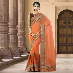 Buy Orange Reception Wear Georgette Saree for womens online India, Best Prices, Reviews - Peachmode