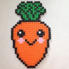 Kawaii carrot hama beads by perler_beads_fun Perler Bead Designs, Hama Beads Design, Perler Bead Art, Melty Bead Patterns, Hama Beads Patterns, Beading Patterns, Art Perle, Peler Beads, Iron Beads