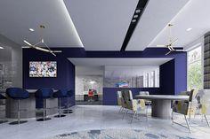 Blue Clubroom Interior Design #AscendApollo #Vidazme #InteriorDesign #InteriorArchitecture #ModernInterior #LobbyDesign #MultiFamily