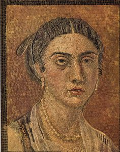 Incredibly detailed Roman portrait mosaic in the Museo di Capodimonte from the city of Pompeii. Found in the cubiculum of a house, this unique floor mosaic portrays a young woman of a rich family - probably the domina of the house, as indicated by the jewelry and the dress.