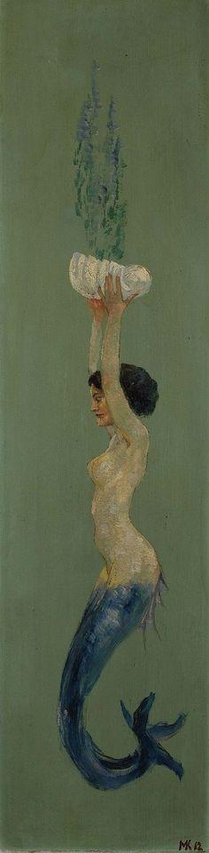 """""""Mermaid holding a shell up (Meerjungfrau eine Muschelschale empor haltend)"""" by Max Klinger, 1912, oil on wood"""