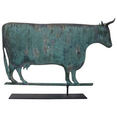 Fabulous Cow Weathervane | From a unique collection of antique and modern weathervanes at http://www.1stdibs.com/furniture/folk-art/weathervanes/