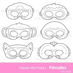 Primates Printable Coloring Masks, ape mask, chimp mask, gorilla mask, lemur mask, baboon mask, orangutan mask, monkey mask, capuchin mask